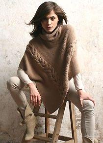 poncho point de riz et torsades à tricoter