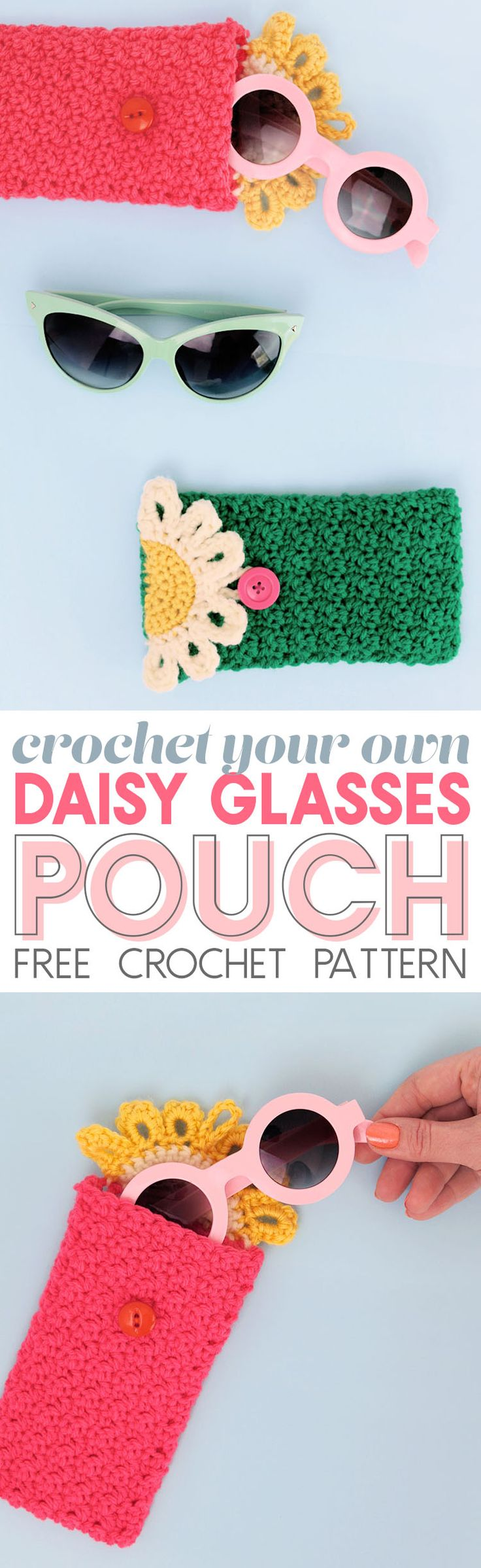 Happy Daisy Crochet Glasses Pouch - Free Crochet Pattern - keep your glasses or sunglasses safe in this cute floral case
