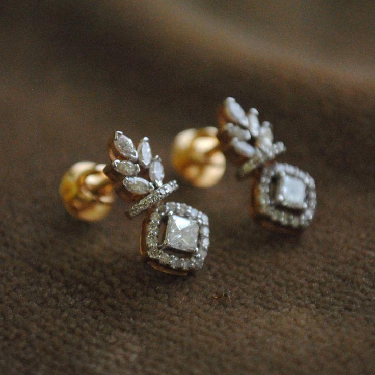 Forbidden Fruit, 0.45 Ct Princess, 0.75 Ct Marquise Halo Diamond, 14K Gold Stud…