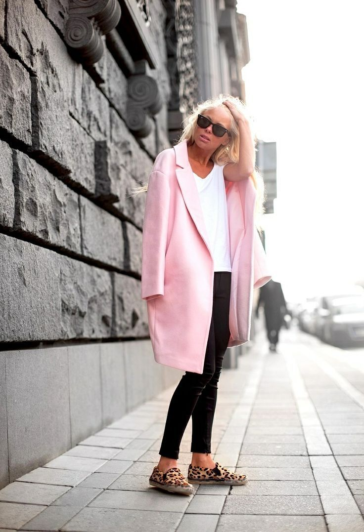 Pastel pink wool coat. Simple black and white basic outfit ...