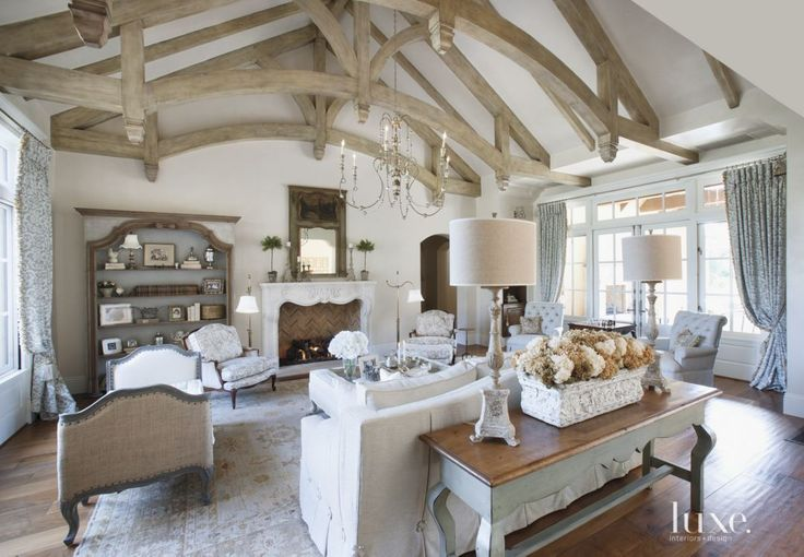 Country Cream Living Room with Vaulted Ceiling | LuxeSource | Luxe Magazine - The Luxury Home Redefined