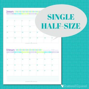 Free Printable 2015 Half Size Calendar with 1 month per page | ScatteredSquirrel.com