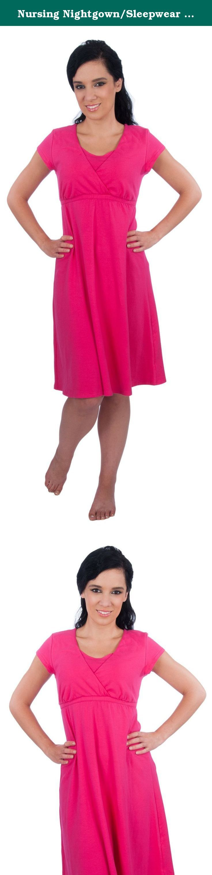 Nursing Nightgown/Sleepwear Dress - Made in USA (Small/Pink). Sizing Small (4-6) Medium (8-10) Large (12-14) This My Bella Mama Gown was originally created as a nursing nightgown, but it is so flattering and versatile that you can wear it to lounge around the house or even go out in public. Pull aside panels offer discreet easy nursing access. Most maternity and nursing tops can be too revealing, this gown is designed to offer the right amount of coverage if you don't like to show too…