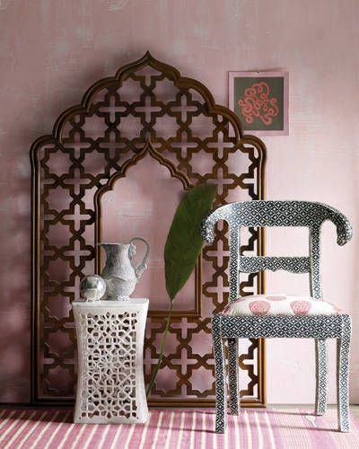 Carved-wood headboard, Bone Inlay chair, Classic Indian carpet, Jour side table, Candleholder...