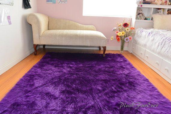Luxurious Purple Shaggy Fur Rectangle Area Rug by PlushFurever