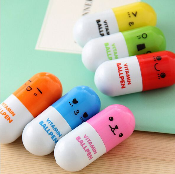 New arrival creative Korea style Pills ball-point gel pen with smile,creative promotional flexible pen,free shipping