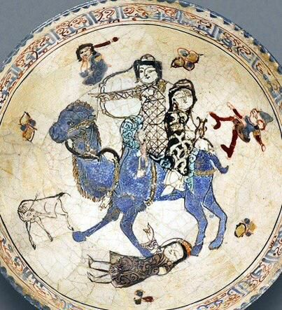 A very cheery blue camel on a Kashan #SuperBowl from Persia/Iran, C12th-C13th  By: Matthew Ward ‏@HistoryNeedsYou on Twitter. IranologySociety.