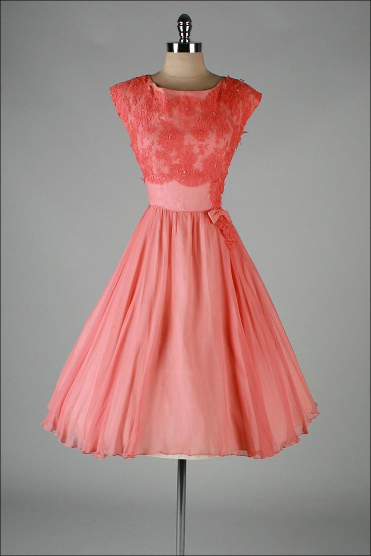 Peach silk crepe cocktail dress with rhinestones and lace