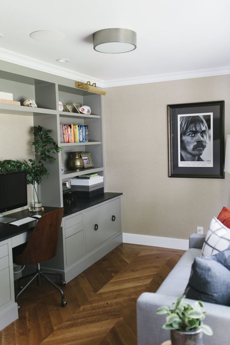 "Benjamin Moore ""Chelsea Gray"" Built-In and Chevron Floors. Masculine Home Office 
