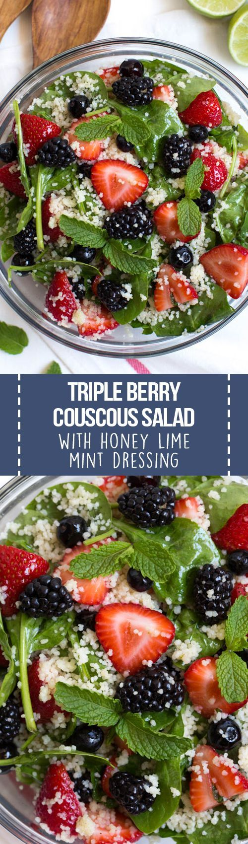 Triple Berry Couscous Salad with Honey Lime Mint Dressing combines couscous with fresh spinach, strawberries, blueberries and blackberries. Drizzle the homemade honey lime mint dressing over the salad to create a light and flavorful addition to any meal!