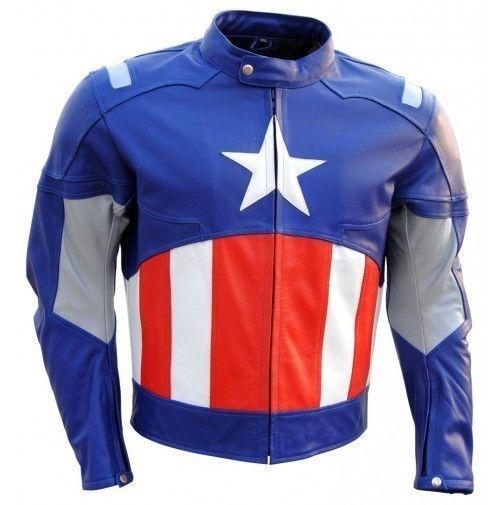 New Handmade Men Leather Jacket Captain America Blue Leather Jacket Men Style #Handmade #BikerJackets