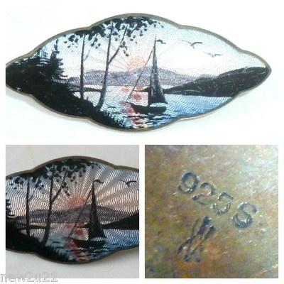 NORWAY SILVER ENAMEL BROOCH MIDNIGHT SUN SAIL BOAT 925/S AKSEL HOLMSEN PIN | eBay