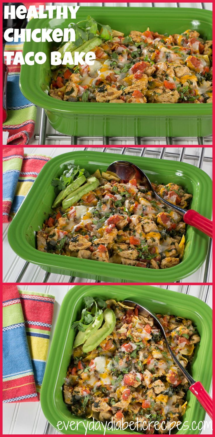 Chicken Taco Bake: This 35 minute meal is full of yummy Tex-Mex ingredients like spinach, salsa, bell peppers, and great seasoning to kick it up a notch. Plus, it's less than 200 calories!