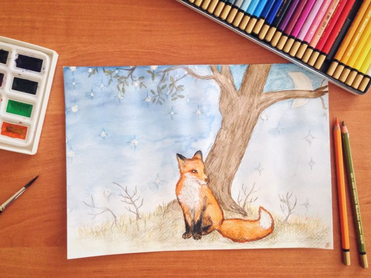 The Lonely Fox. Le petit prince illustration watercolor.