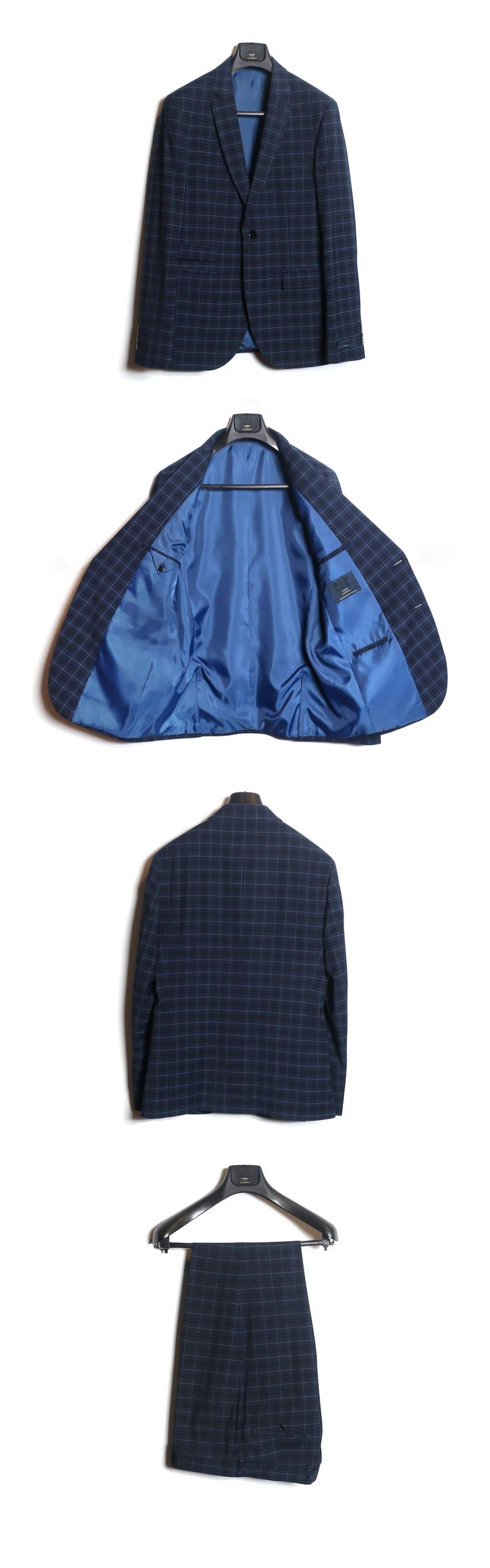CH-986 BLUE CHECK SUIT 80%POLYESTER 20%VISCOSE