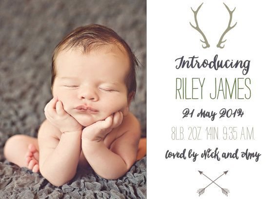 Baby boy birth announcement antlers rustic