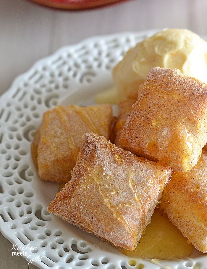 Sopapillas -need only three ingredients and 15 minutes in the oven -  Puff Pastry Sugar Cinnamon  Honey  for drizzling. SCORE!!