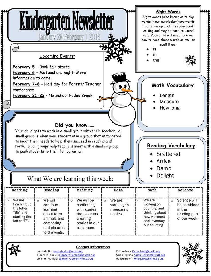 kindergarten newsletter - Google Search