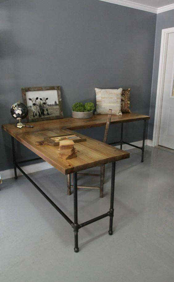 Recycled wood and metal piping legs office desk