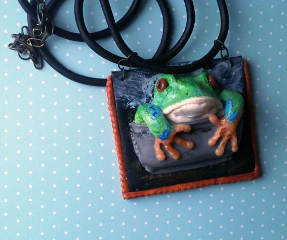 Whimsical frog necklace story pendant sculpted 3D frog in a pot polymer clay animal by Lijoux