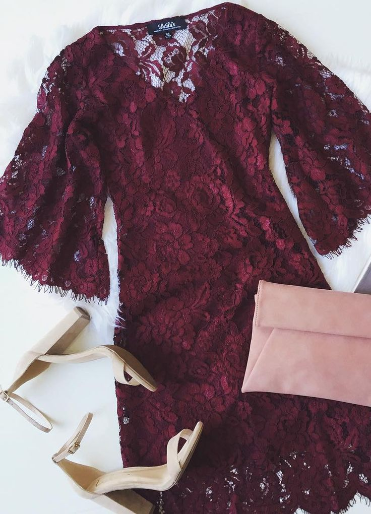 Turn heads when you walk into the party in the Here and Wow Burgundy Lace Dress! Lovely eyelash lace overlay tops a burgundy knit lining, creating a V-neckline, darted bodice, and sheer, three-quarter bell sleeves. Skirt ends with a sheer, scalloped hem.  #lovelulus