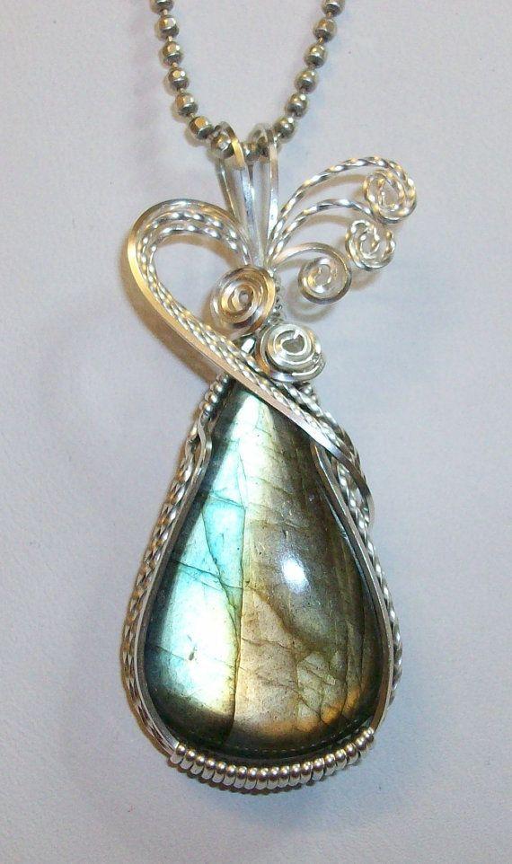 multi flash labradorite pendant in silver filled wire