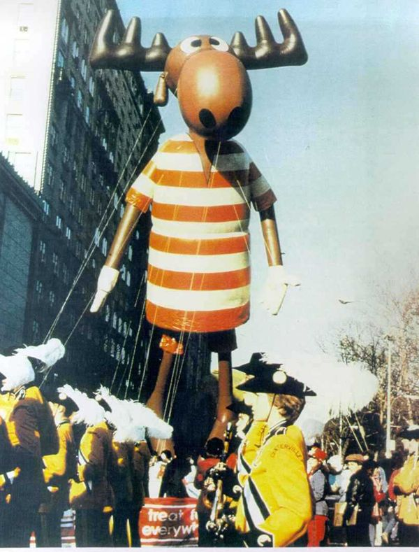 Vintage 1982, Bullwinkle the Moose still flying, Macy's Thanksgiving Day Parade, NYC, www.RevWill.com
