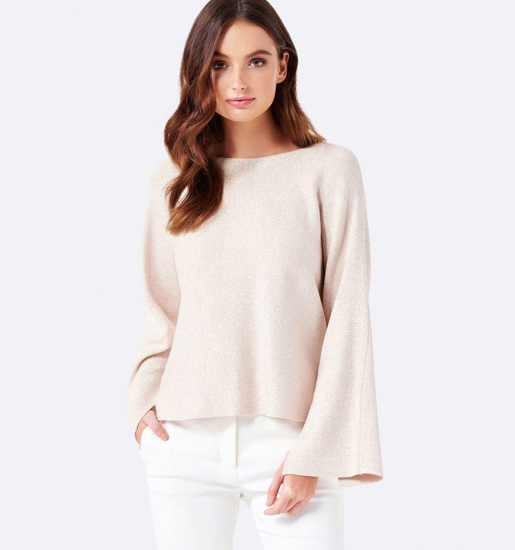 Jordan Wide Sleeve Metallic Jumper Champagne Shimmer - Womens Fashion | Forever New