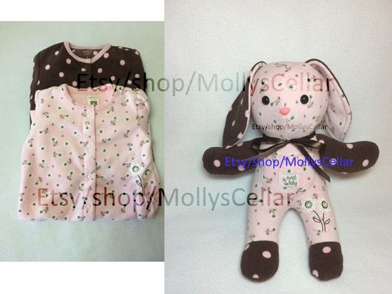 Keepsake rabbit made from baby clothes bunny from by MollysCellar