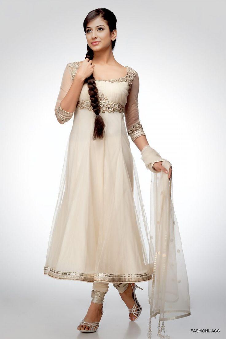 Stylish white dress wedding umbrella frocks churidar designs - Fancy Umbrella Frock Designs Churidar Suits For Women