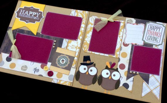 """12x12 Scrapbook Page Happy Thanksgiving Themed Kit . DIY Kit or Pre-Made Double Page Layout. Thanksgiving Scrapbook Layout. Fall Scrapbook. Echo Park """"Reflections Fall"""" paperline."""
