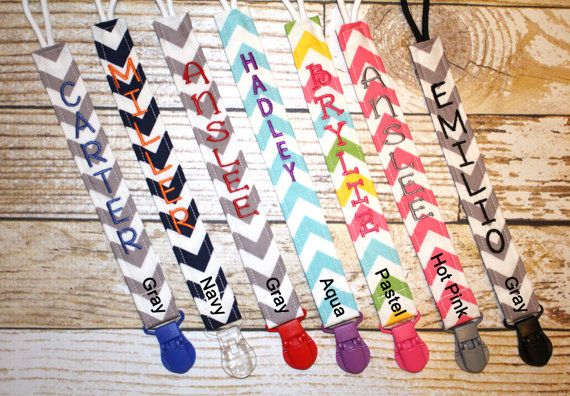 Personalized Pacifier Clips with plastic clip, Chevron Pacifier Clips - Mam Gumdrop Nuk Avent Soothie Binky Clips