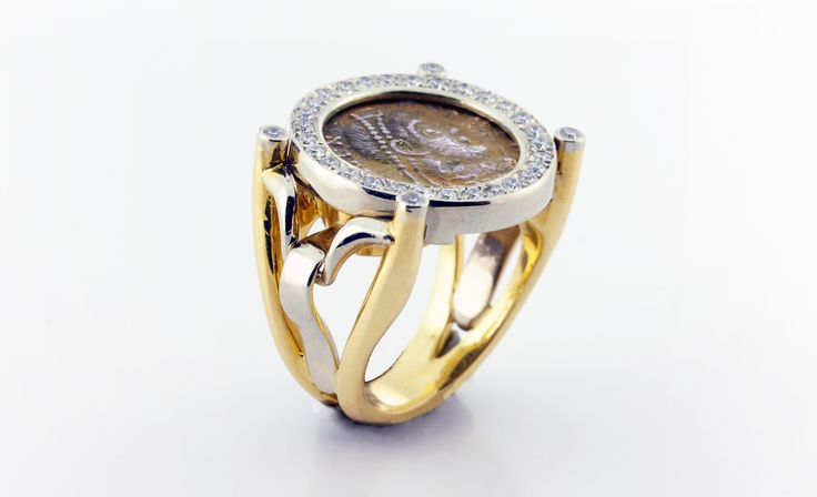 Ancient Roman coin ring in white & yellow gold with diamonds.