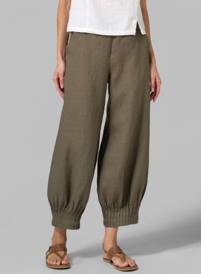 INSPIRATION! Linen Pleated Cuff Crop Pants