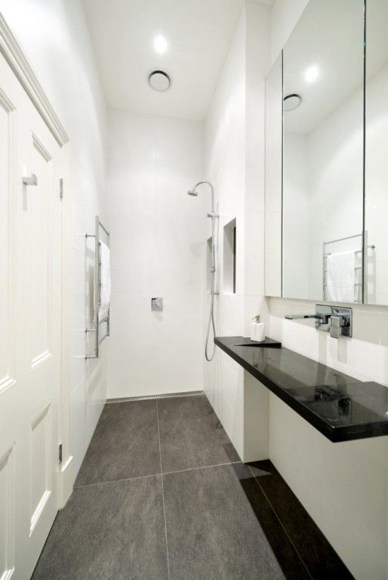 Narrow bathroom design: http://www.myhomerocks.com/2012/02/compact-bathrooms-great-things-come-in-small-packages/