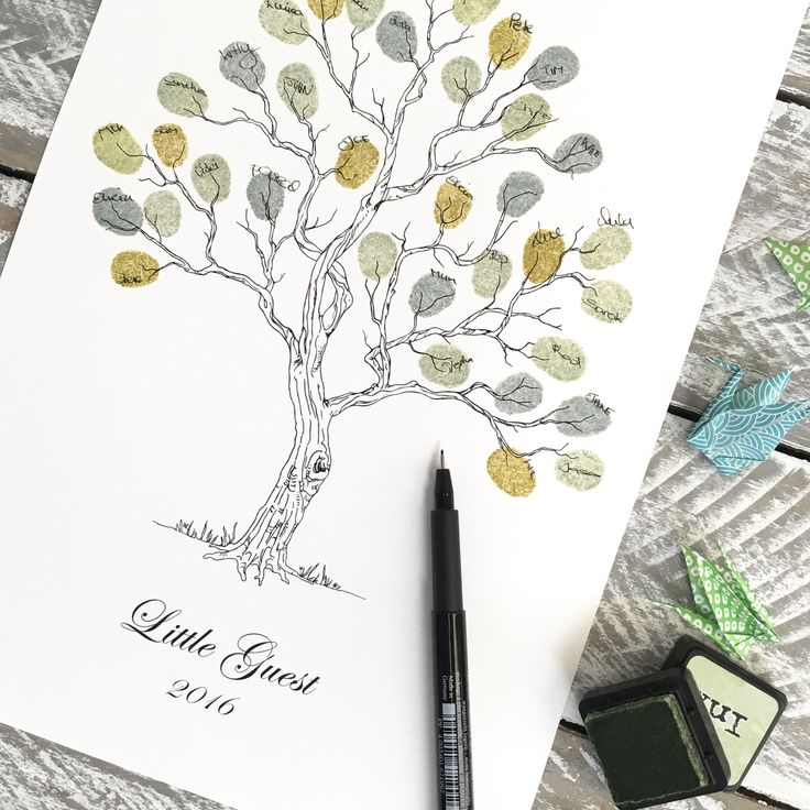 """Fingerprint tree. Guest book alternative """"Twisted Tree Size: Small A4 210 x298 mm. By Daisywood"""