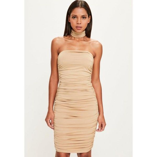 Missguided Peace + Love  Bandeau Bodycon Midi Dress ($119) ❤ liked on Polyvore featuring dresses, nude, holiday dresses, bodycon dress, special occasion dresses, beige cocktail dress and mid calf cocktail dresses