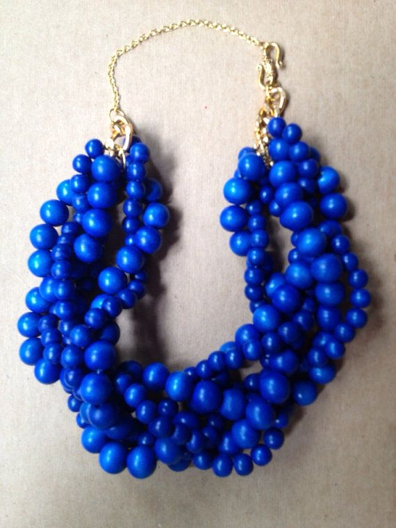 A POP of color in your wedding day jewelry  Royal Blue Statement Necklace Summer Statement by TheEnchantingOwl, $21.97