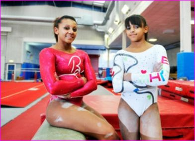 Ellie and Becky Downie British Gymnast.