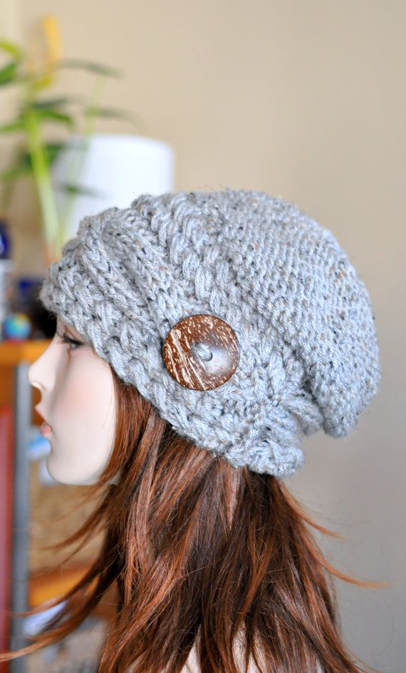 Slouchy Hat Slouch Beanie Cable Button Hat Hand Knit by lucymir, $67.99
