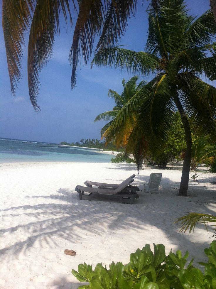 A beautiful white-sand beach at Kuredu Island Resort, the Maldives #beach #Maldives #Island