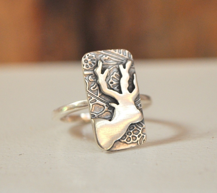 hand cut embossed rectangle deer ring, R450 *embossing may differ slightly from image