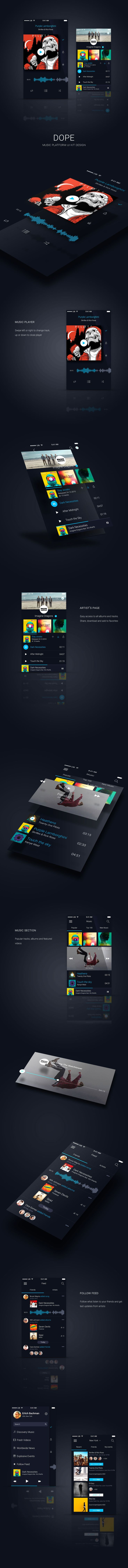 Dope - Music UI Kit App Template on Behance