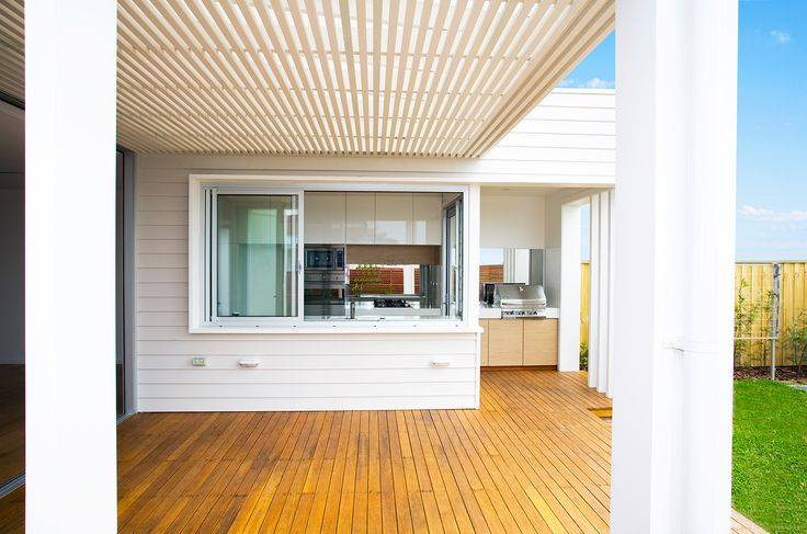 Never feel stuck in the kitchen with this modern home design. Rockpool Terraces featuring #Scyon™ #Linea™ #weatherboard. #architecture #design #Australia #home #house