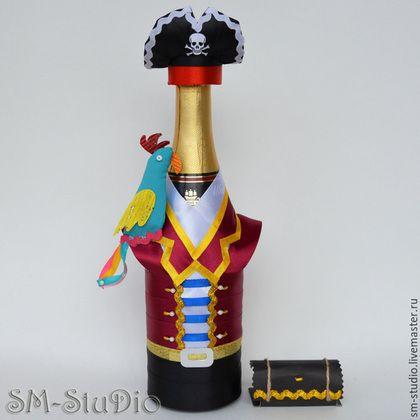 Персональные подарки ручной работы. Ярмарка Мастеров - ручная работа. Купить Джек Воробей. Чехол на бутылку. Подарок мужчине. Handmade.