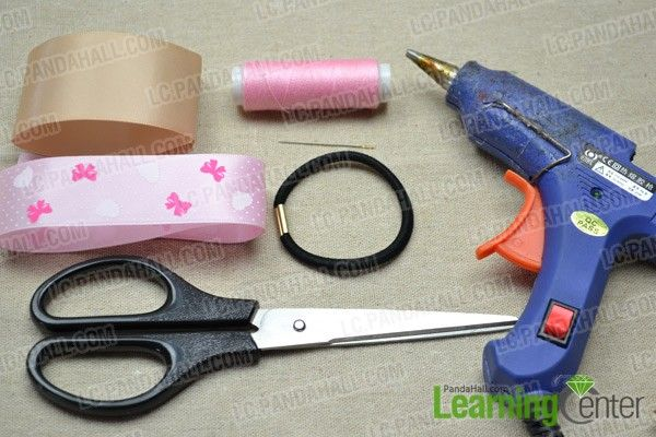 Necessities for this handmade ribbon hair bow: