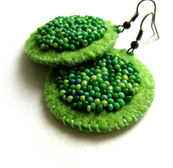 Lovely spring - handmade green felt earrings with green glass beads