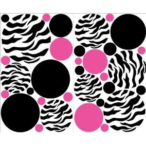 Mini- Zebra Print Hot Pink and Black Dots Wall Stickers / Decals