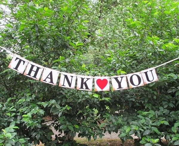 """""""THANK YOU"""" Rustic Country Banner Bunting - 1.8m"""
