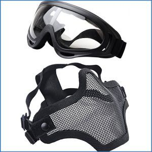 OUTGEEK Airsoft Half Face Mask Steel Mesh and Goggle Set